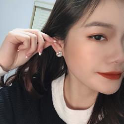 梨花HaNA  韓國925銀針.簡單不規則方鑽法式耳環