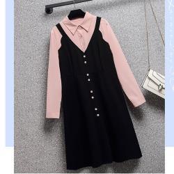 麗質達人 - 11906黑粉拼接假二件洋裝