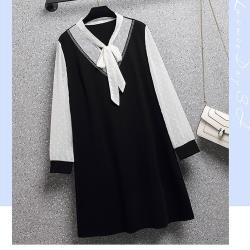 麗質達人 - 11905黑白拼接假二件洋裝