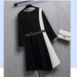 麗質達人 - 11918黑白拼接假二件洋裝