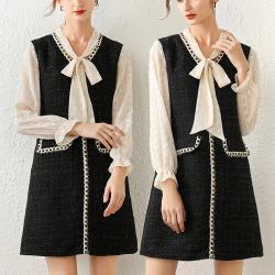 麗質達人 - 73833黑杏拼接假二件洋裝