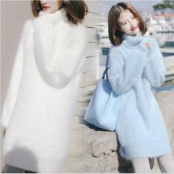GIFT-軟奶藍水貂絨套頭針織衫