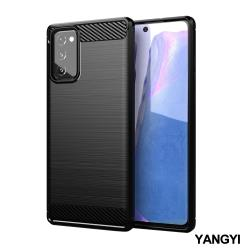 YANGYI揚邑-SAMSUNG Galaxy Note20 碳纖維拉絲紋軟殼散熱防震抗摔手機殼-黑