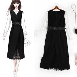 麗質達人 - 11172黑白拼色假二件洋裝