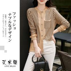 【艾米蘭】韓版圓領條紋排扣針織上衣 (M-XL)