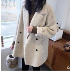 加厚保暖羊羔毛風衣外套