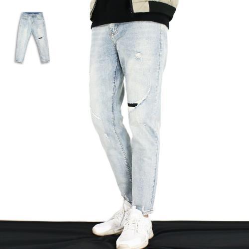 『RFD』九分單膝補釘牛仔褲《99901185》淺藍色/