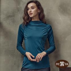 【岱妮蠶絲】純蠶絲42針110G羅馬領長袖上衣-靛藍色(SWL6A304)