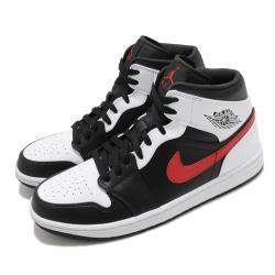 Nike 籃球鞋 Air Jordan 1 Mid 男鞋 經典款 喬丹一代 簡約 皮革 球鞋 穿搭 黑 白 554724075 [ACS 跨運動]