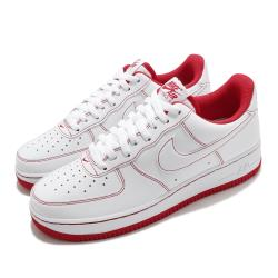 Nike 休閒鞋 Air Force 1 07 運動 男女鞋 經典款 AF1 皮革質感 簡約 情侶穿搭 白 紅 CV1724100 [ACS 跨運動]