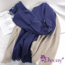 【Decoy】學院小格紋*流蘇中性仿羊絨保暖圍巾/藍