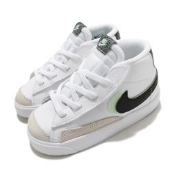 Nike 休閒鞋 Blazer Mid 77 SE 童鞋 基本款 簡約 魔鬼氈 小童 穿搭 白 黑 DD1849100 [ACS 跨運動]