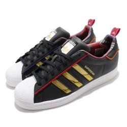adidas 休閒鞋 Superstar 復古 低筒 男女鞋 愛迪達 三葉草 貝殼頭 皮革 情侶鞋 黑 金 S24184 [ACS 跨運動]