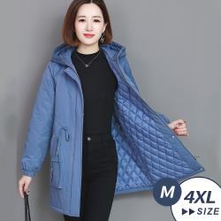 【LANNI 藍尼】現貨 時尚保暖鋪棉連帽外套(中長版外套)