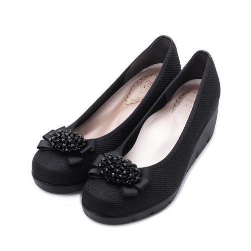 FIRSTCONTACT珠花緞帶楔型鞋黑39603女鞋鞋全家福