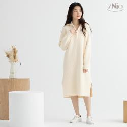 【iNio】拉鍊領長䄂針織毛衣洋裝長洋(S-L適穿)-現貨快出【C0W3128】
