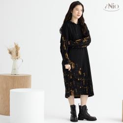 【iNio】緹花拼接設計連帽洋裝長洋(S-L適穿)-現貨快出【C0W3124】