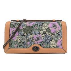 COACH 89395 刺繡花卉帆布皮飾邊斜背鍊包.咖邊