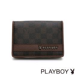 PLAYBOY - 名片夾 CHESSBOARD系列 - 咖啡色