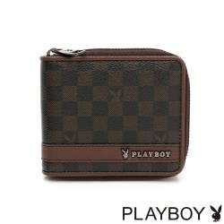 PLAYBOY - ㄇ拉短夾 CHESSBOARD系列 - 咖啡色