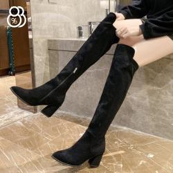 【88%】7cm長靴 優雅氣質前短後長 筒高47CM絨面尖頭內側拉鍊粗跟靴 膝上靴 過膝靴