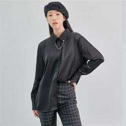 襯衫 優雅鏈條質感長袖襯衫OM83216-創翊韓都