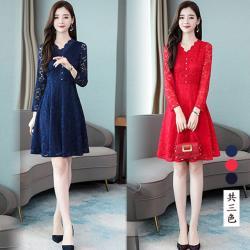 型-K.W.韓國 V領蕾絲高工藝晚宴洋裝