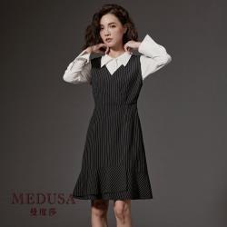 現貨【MEDUSA】直條紋收腰背心洋裝 / 上班穿搭 / 造型洋裝