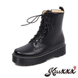 【Kissxxx】復古厚底車線造型個性綁帶馬丁靴 黑