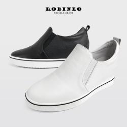 Robinlo 極簡百搭全真皮內增高厚底休閒鞋ZABBI--白/黑