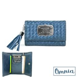 【OMNIA】珠光亮澤編織牛皮短夾鑰匙包(藍色)