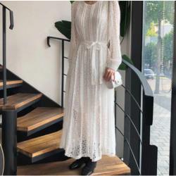 甜美蕾絲鉤花氣質連衣裙