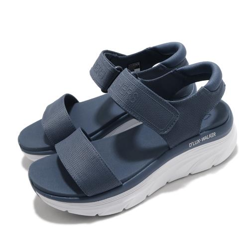 Skechers涼鞋DLuxWalker休閒女鞋厚底輕量魔鬼氈膠底健行郊遊藍白119226SLT[ACS跨運動]