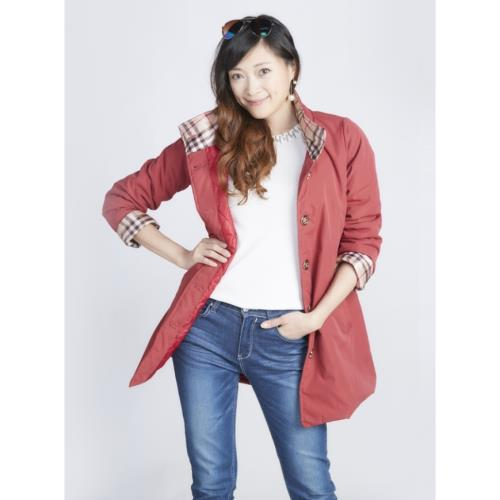 蘭陵(1入)禦寒保暖鋪棉長版外套-紅
