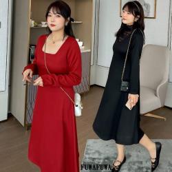 加大尺碼法式優雅高領方領長袖洋裝小禮服-宴客 伴娘 媽媽裝-FUWAFUWA