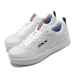 Skechers 休閒鞋 Sport Court 92 皮革鞋面 男鞋 記憶型泡棉鞋墊 緩衝 避震 耐磨 止滑 白 藍 237188WNVR