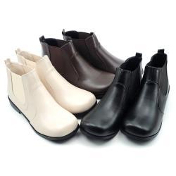 【cher美鞋】MIT簡約百搭寬頭舒適不擠腳低跟切爾西靴短靴-黑色/咖色/白色 36-40碼 -1030152620-18