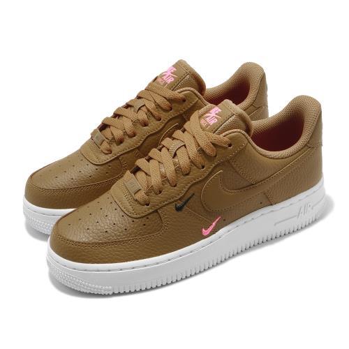 Nike 休閒鞋 Air Force 1 07 運動 女鞋 經典款 AF1 皮革 簡約 小勾勾 穿搭 棕 白 CT1989700 [ACS 跨運動]