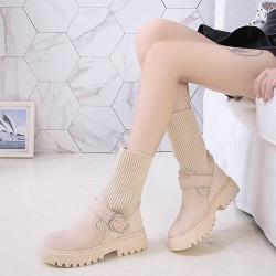 【WS】現+預  金屬扣帶兩穿式厚底襪靴-2色