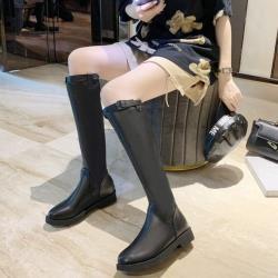 【WS】現+預  歐美風個性後拉鍊厚底及膝靴-黑色