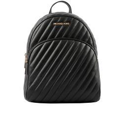 MICHAEL KORS Abbey 金字縫線紋路皮革後背包(中款)(黑色) 35T0GAYB6L BLACK