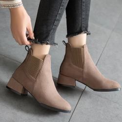 【WS】現+預 時尚簡約圓頭絨面短靴(短靴)
