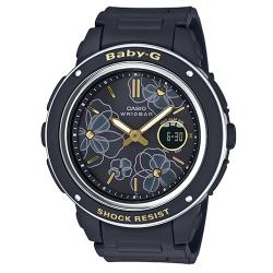 【CASIO 卡西歐】CASIO BABY-G 氣質雙顯女錶 橡膠錶帶 黑 防水100米(BGA-150FL-1A)