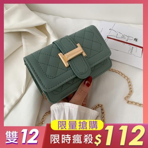 【KISSDIAMOND】美麗佳人菱格飾扣鍊帶小方包KDB-417(熱銷/斜背/肩背)-綠/
