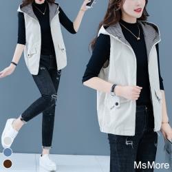 【MsMore】好穿搭雙色休閒背心連帽外套107989現貨+預購(3色)