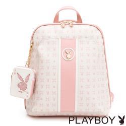 PLAYBOY -  後背包-可肩背 Bunny Poker 撲克甜心系列 - 粉色
