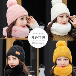 梨花HaNA 寒流零下也不冷舖絨禦寒神器~暖呼呼毛領素面毛帽脖圍組合