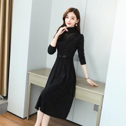 【KISSDIAMOND】秋冬氣質貴夫人典雅收腰連衣裙-KDD-9128( 熟女/氣質/OL/優雅)