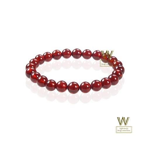 W-jewelry頂級完美紅石榴手鍊(7MM(3A等級))/