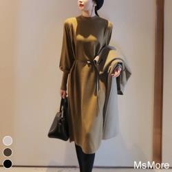 【MsMore】高端氣質名媛針織澎袖洋裝108264現貨+預購(3色)